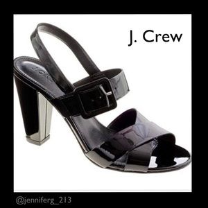 J. Crew Sydney Sandals in Black Patent Leather 8.5